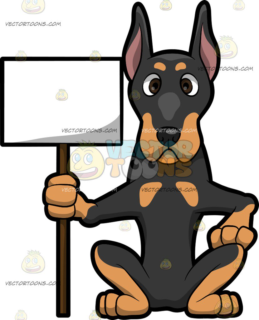 Paws clipart doberman. A dog holding cardboard png library stock