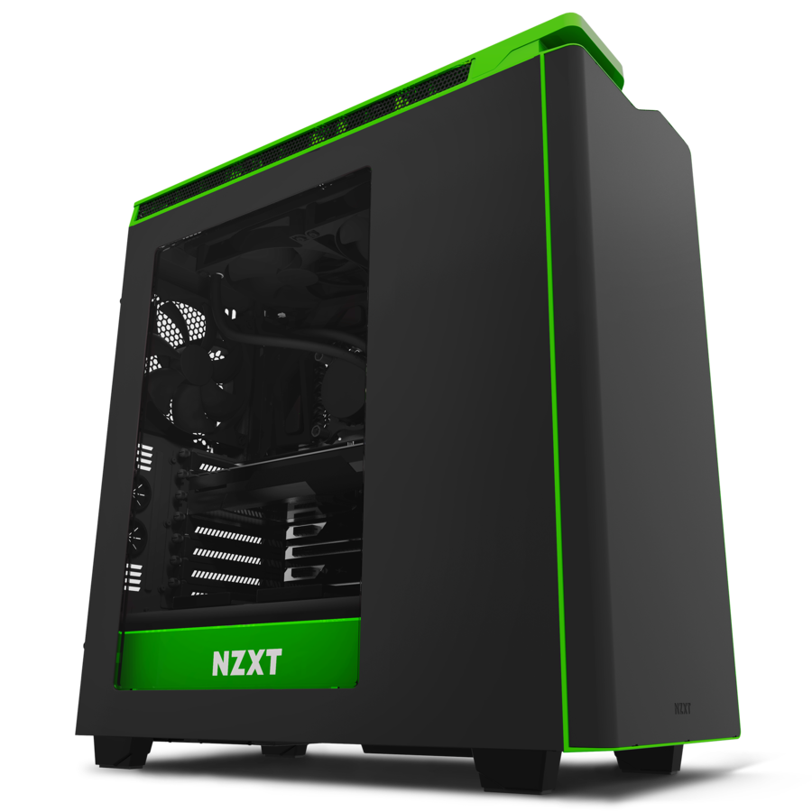 Pc case transparent png. H black green windowed