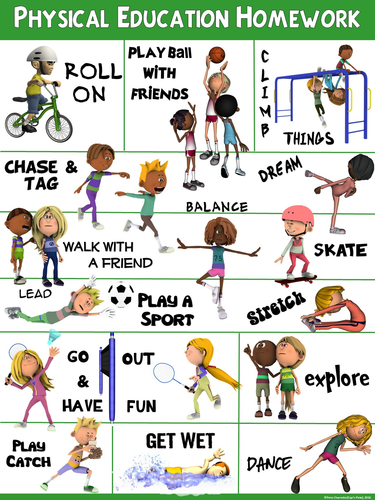 Pe clipart physical growth. Poster education homework by