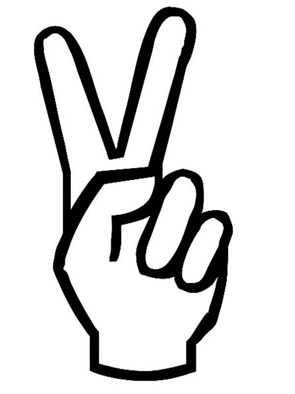 Peace clipart hand signal. Cartoon sign coloring page