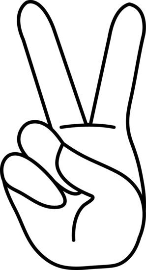 Peace hand sign line. Fingers drawing clipart picture library stock