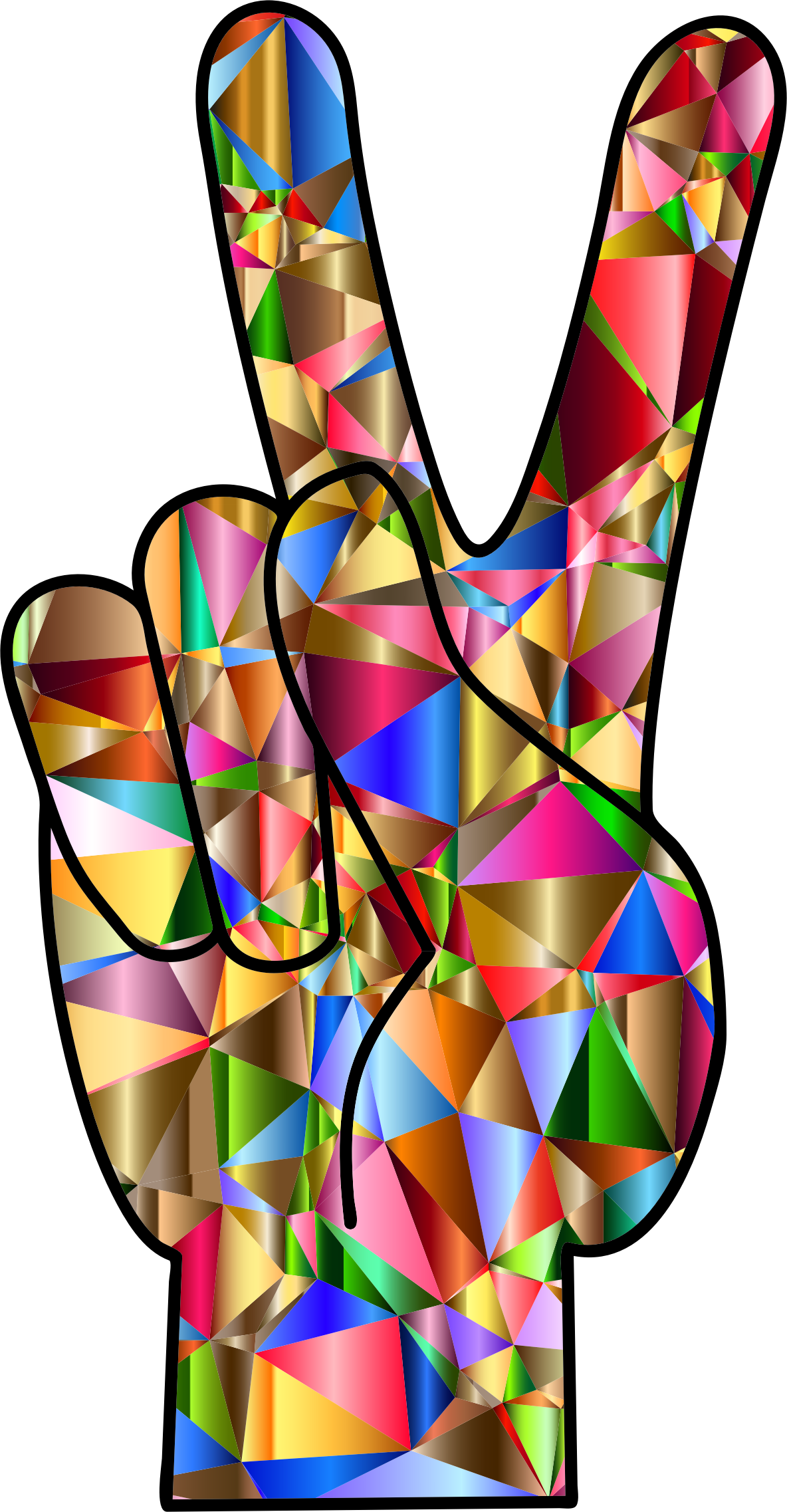 Peace hand sign png. Chromatic low poly icons