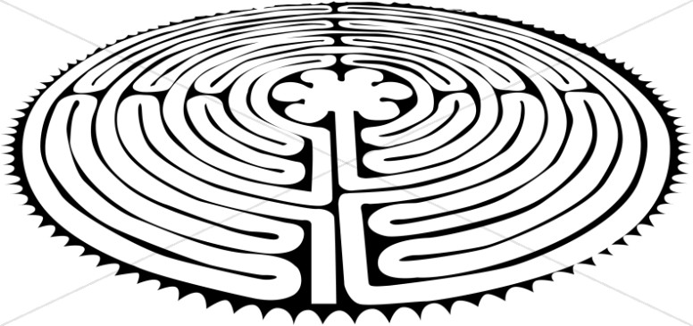 Peace maze. Labyrinth black and white