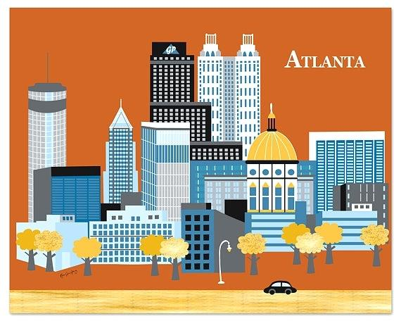 Peach clipart peach atlanta. Skyline art chaincuttersunion print