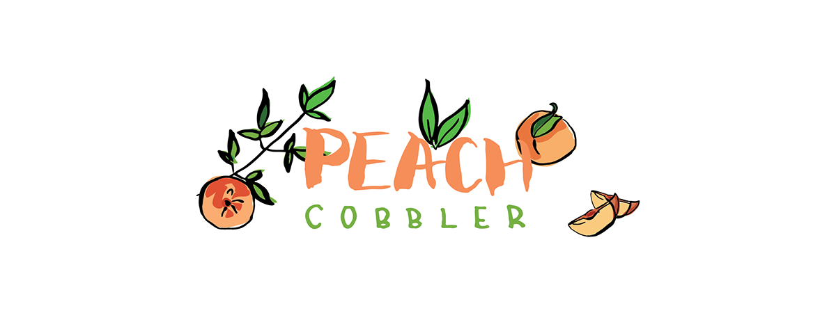 Peach clipart peach cobbler. Illustrated recipe for tdac