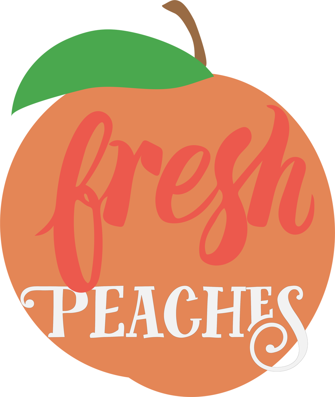 Peach svg logo. Fresh peaches cut file