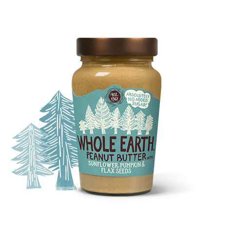 Jar transparent peanut butter. Whole earth foods mixed