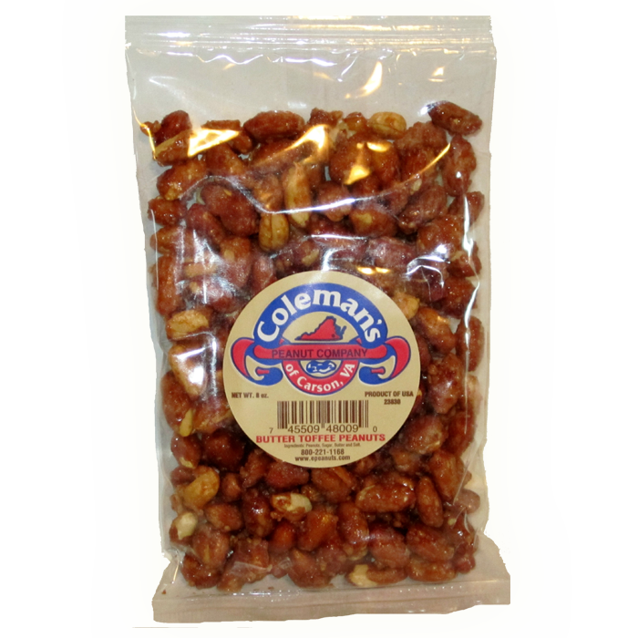 Peanut transparent bag. Butter toffee covered peanuts