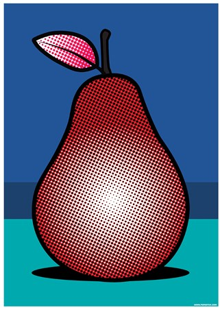 Pear clipart pop art. A red fruit poster