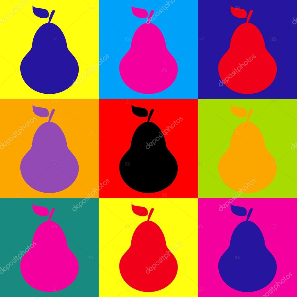 Pear clipart pop art. Sign style icons set