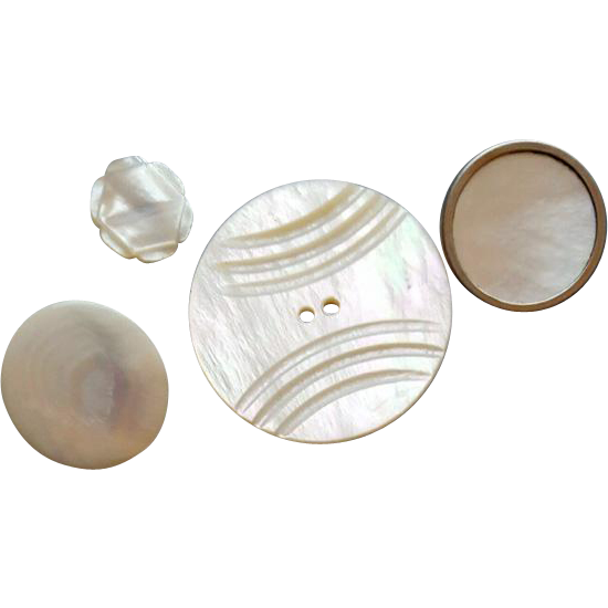 Pearl buttons png. Four vintage mother of