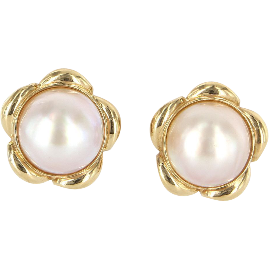 Pearl buttons png. Vintage karat yellow gold