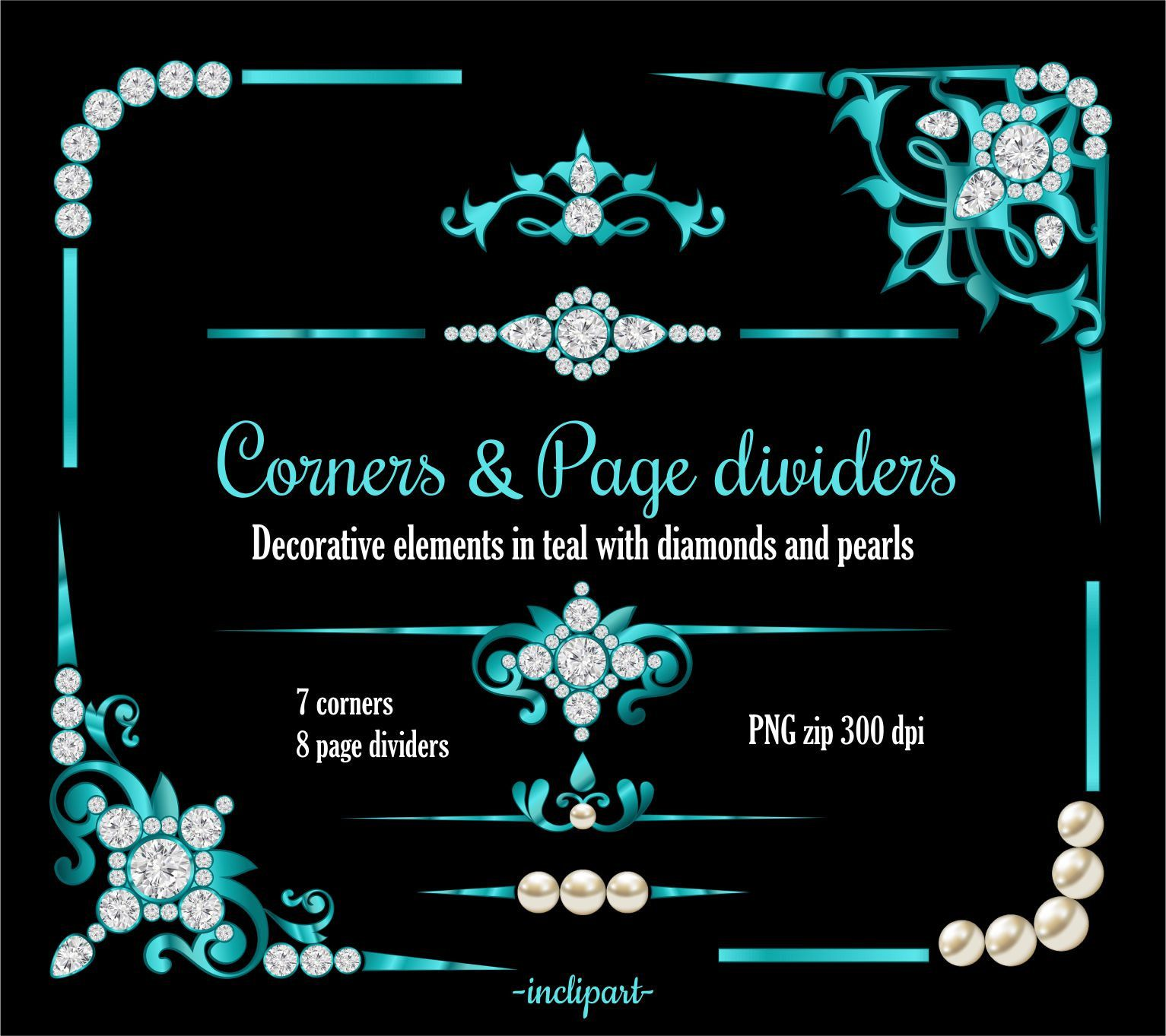 Pearl clipart diamonds and pearl. Teal corner page divider