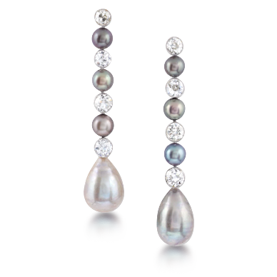 Pearl earring png. A pair of retro