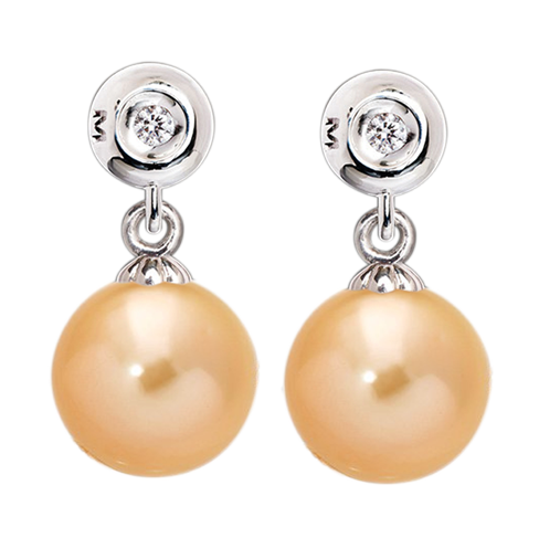Pearl earring png. South sea and diamond