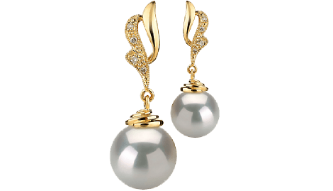 Transparent pearls golden. Real white south sea
