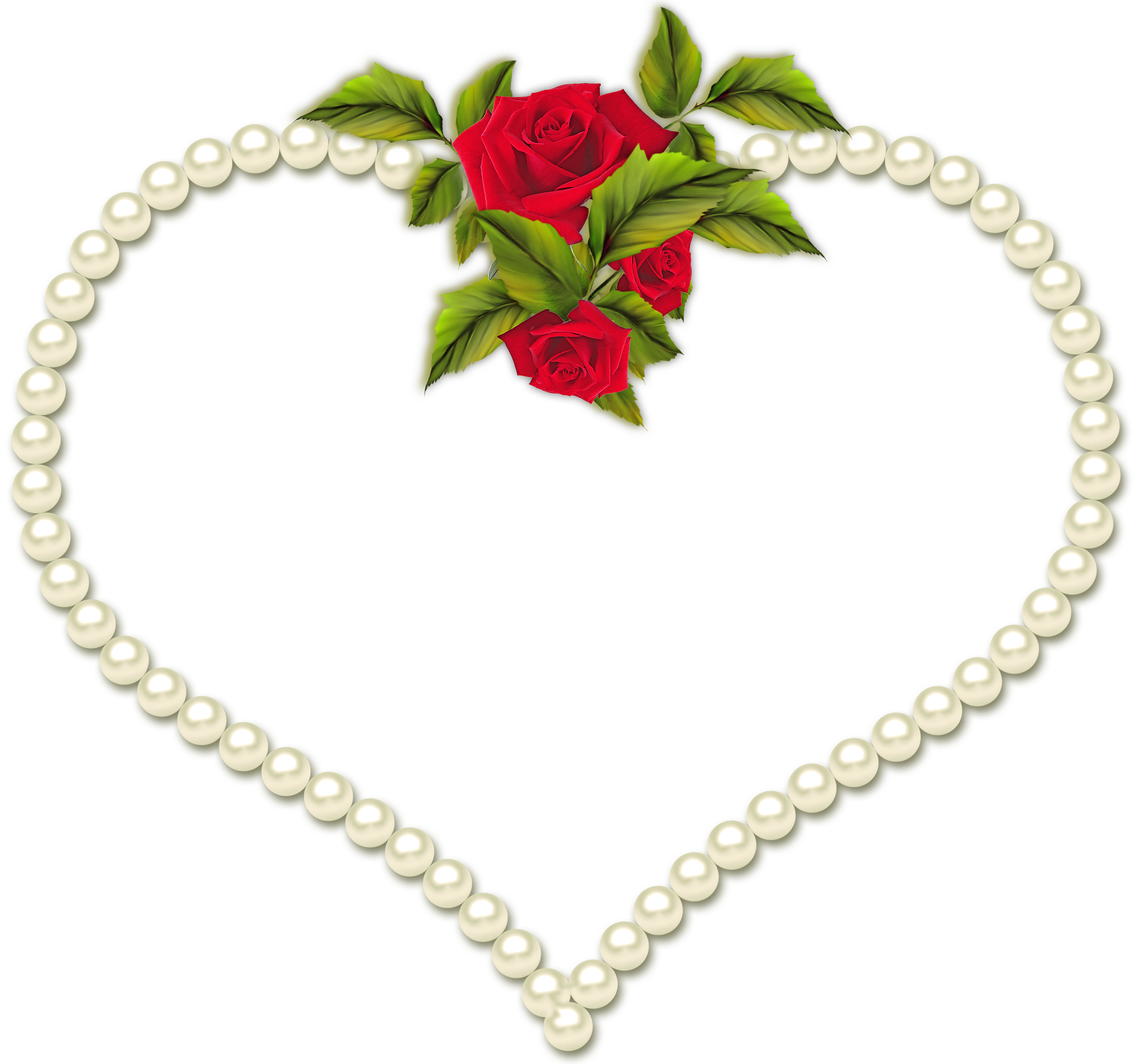 Pearl frame png. Transparent heart with roses