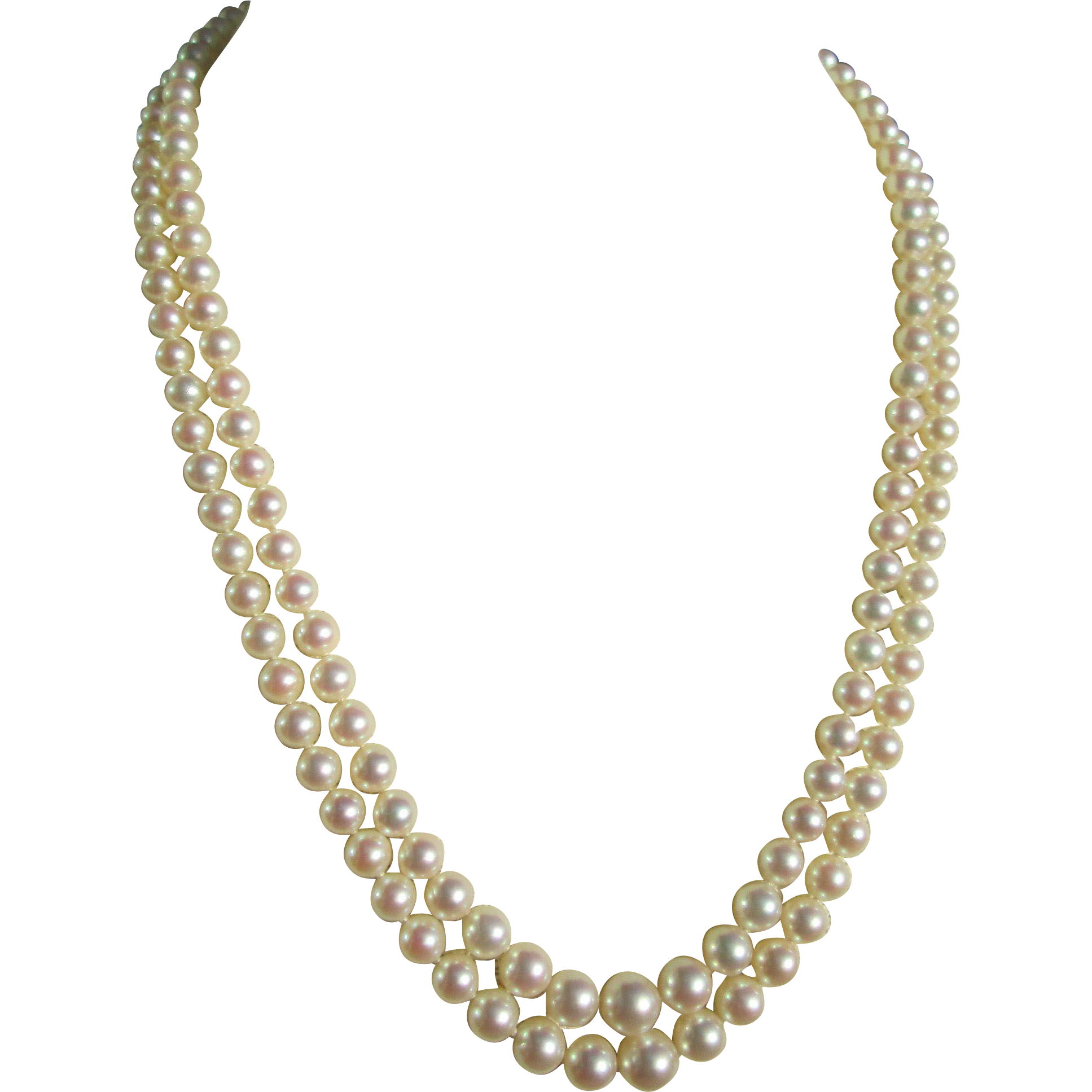 Pearl necklace png. Mikimoto double strand princess
