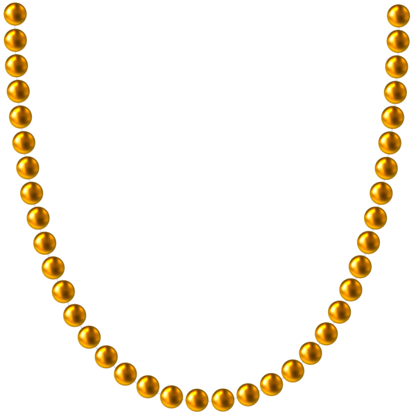 Pearl necklace .png. Gold beads png clip