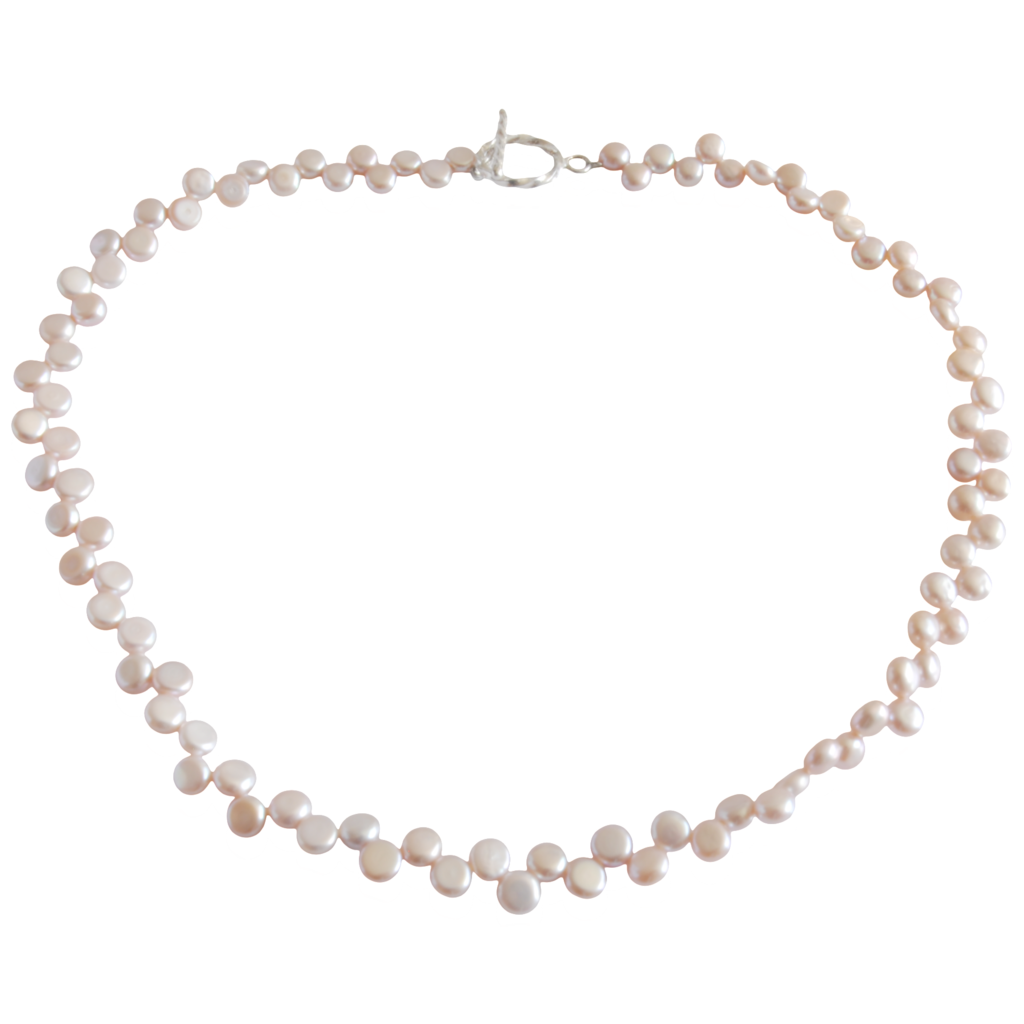 Pearl necklace png. Pink button freshwater
