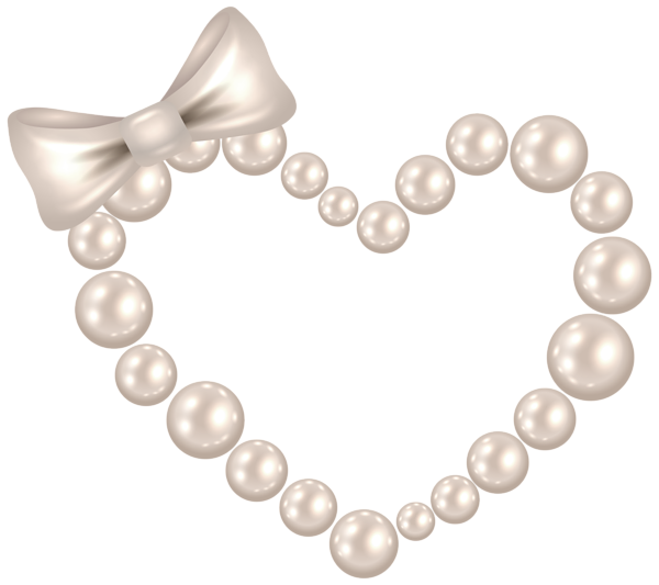 Pearl heart with bow. Transparent pearls clipart library stock