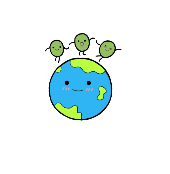 Peas drawing cute. On earth by nyapo