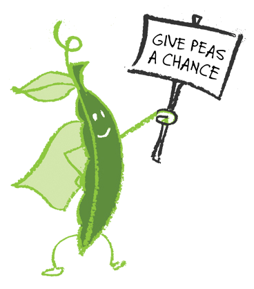 Peas drawing food. Give a chance campaign
