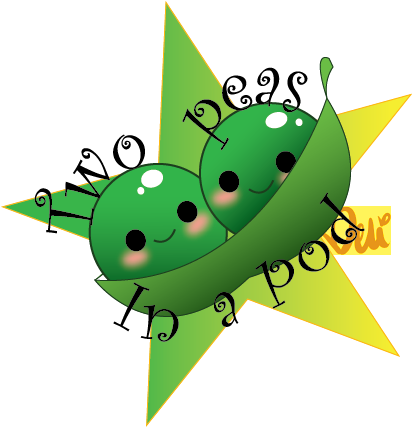 Peas drawing two. In a pod artwork