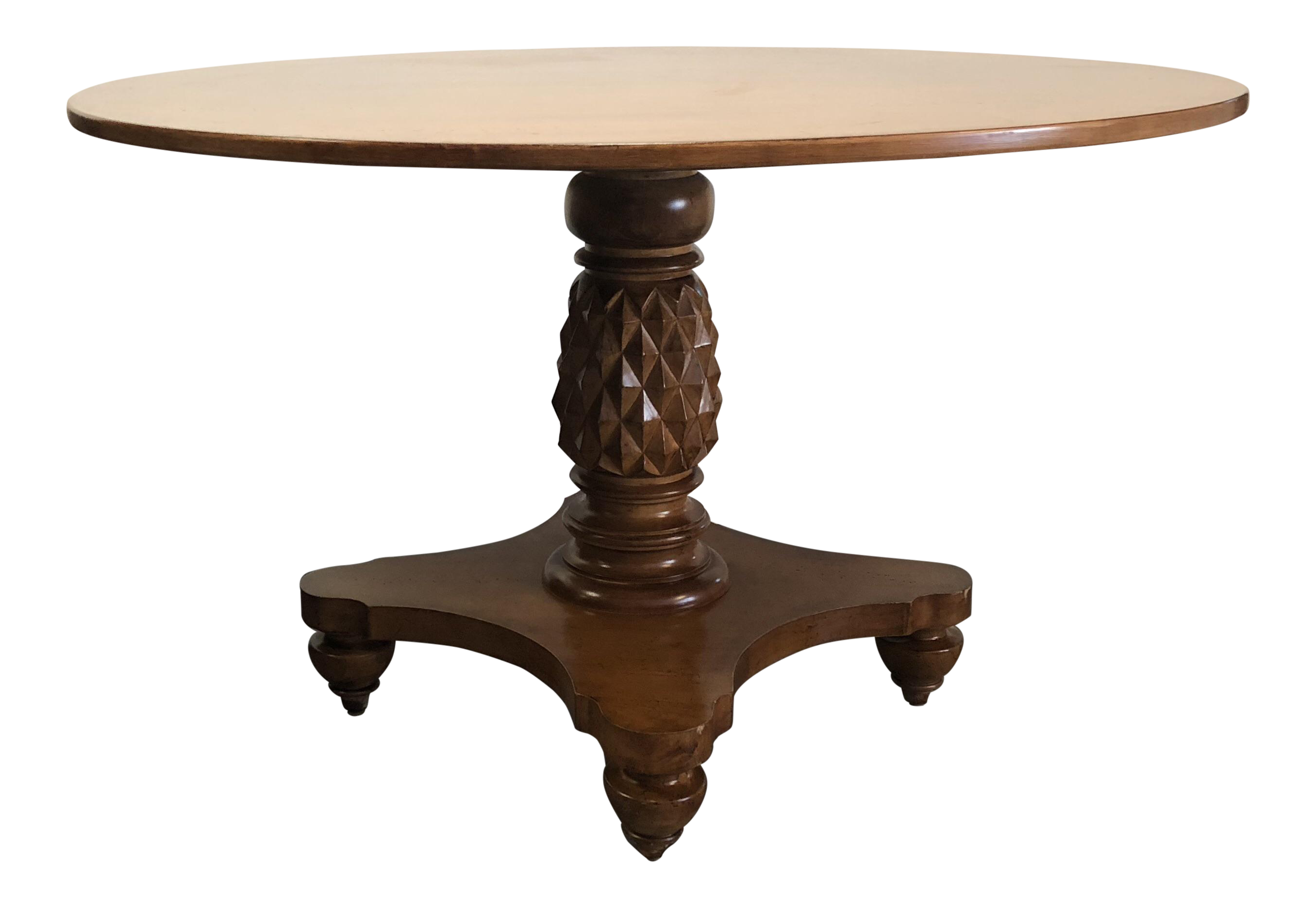Pedestal drawing antique table. Round pineapple base wood