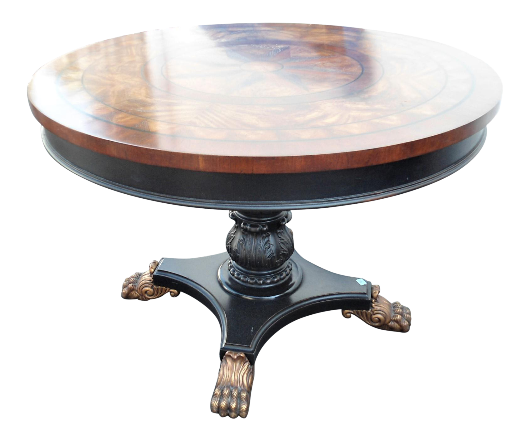 Pedestal drawing circular table. Star inlay round with