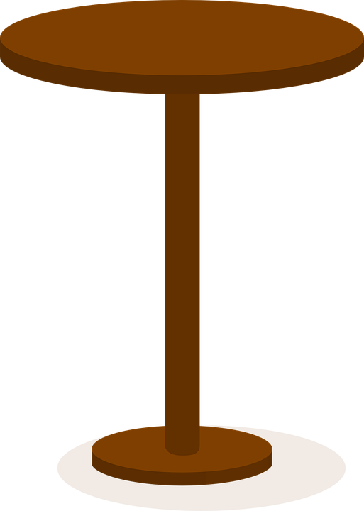 Pedestal drawing circular table. Collection of free cafe