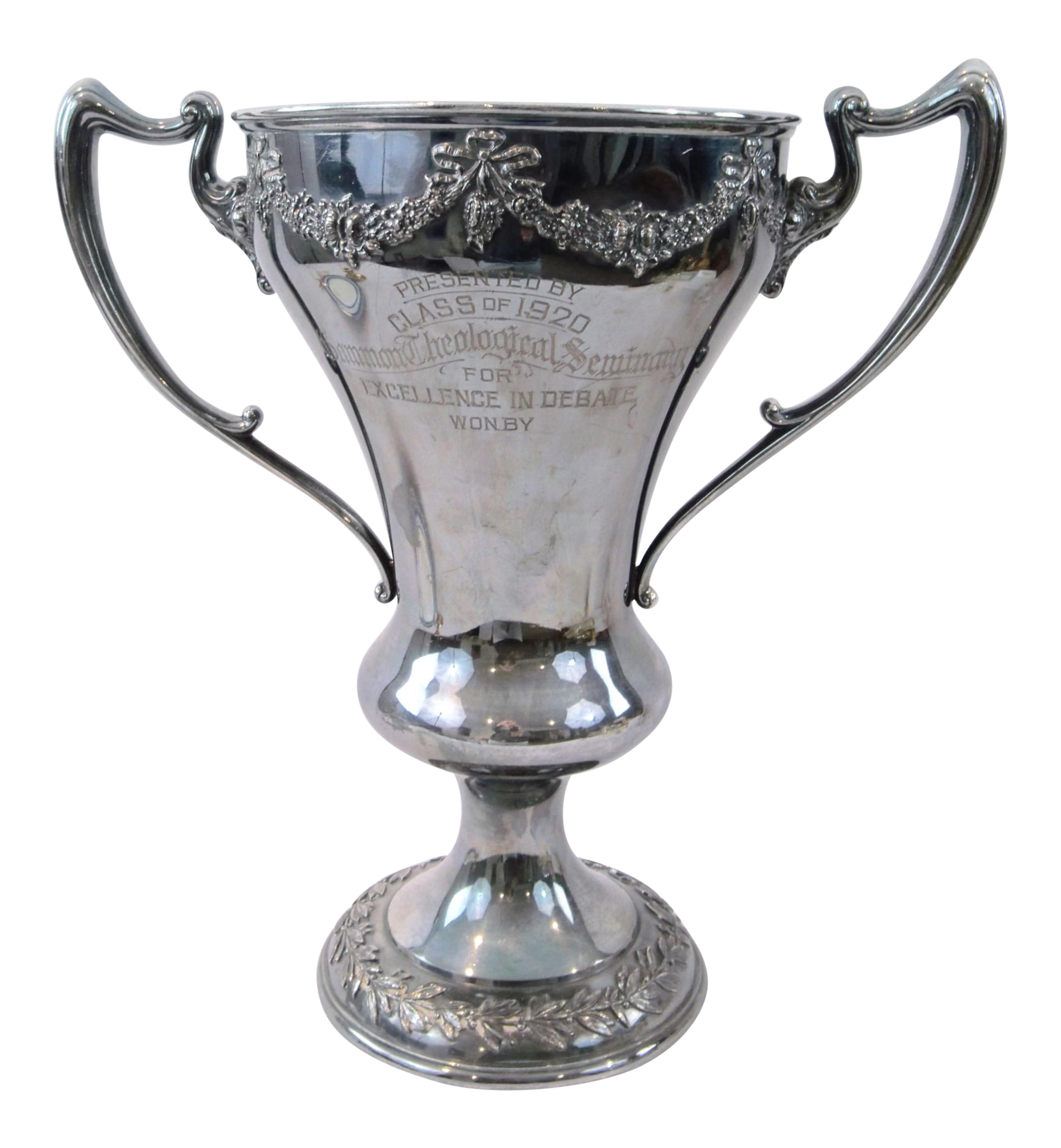 Pedestal drawing cup trophy. Antique silver loving theology