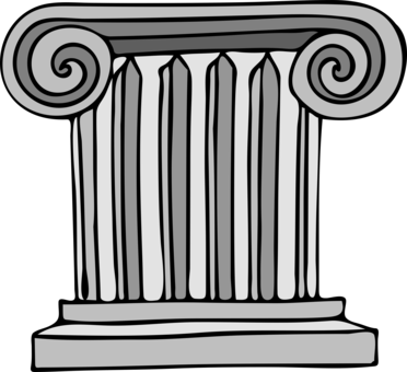 Pedestal drawing greek column. Ancient greece classical order