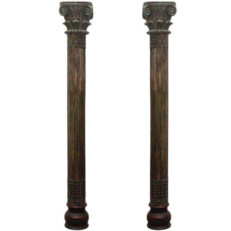 Pillar transparent window. Distinguished pair of carved
