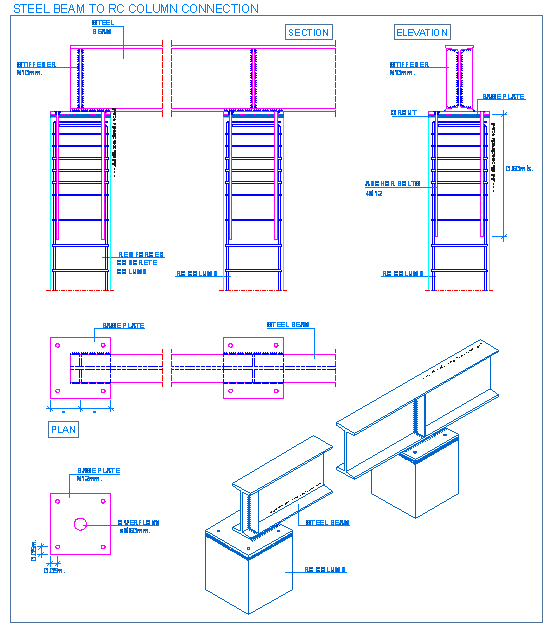 Pedestal drawing rcc. Steel beam to rc