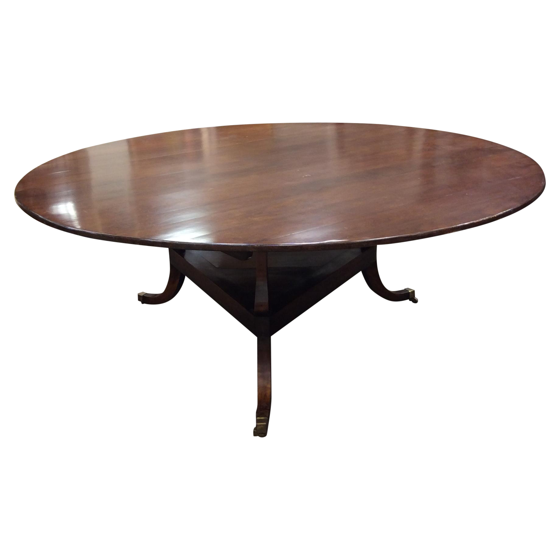 Pedestal drawing round table. Dining triangular with