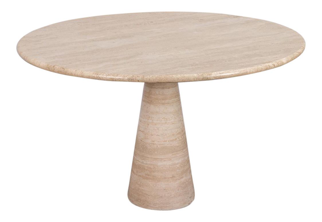 Pedestal drawing round table. Excellent angelo mangiarotti travertine