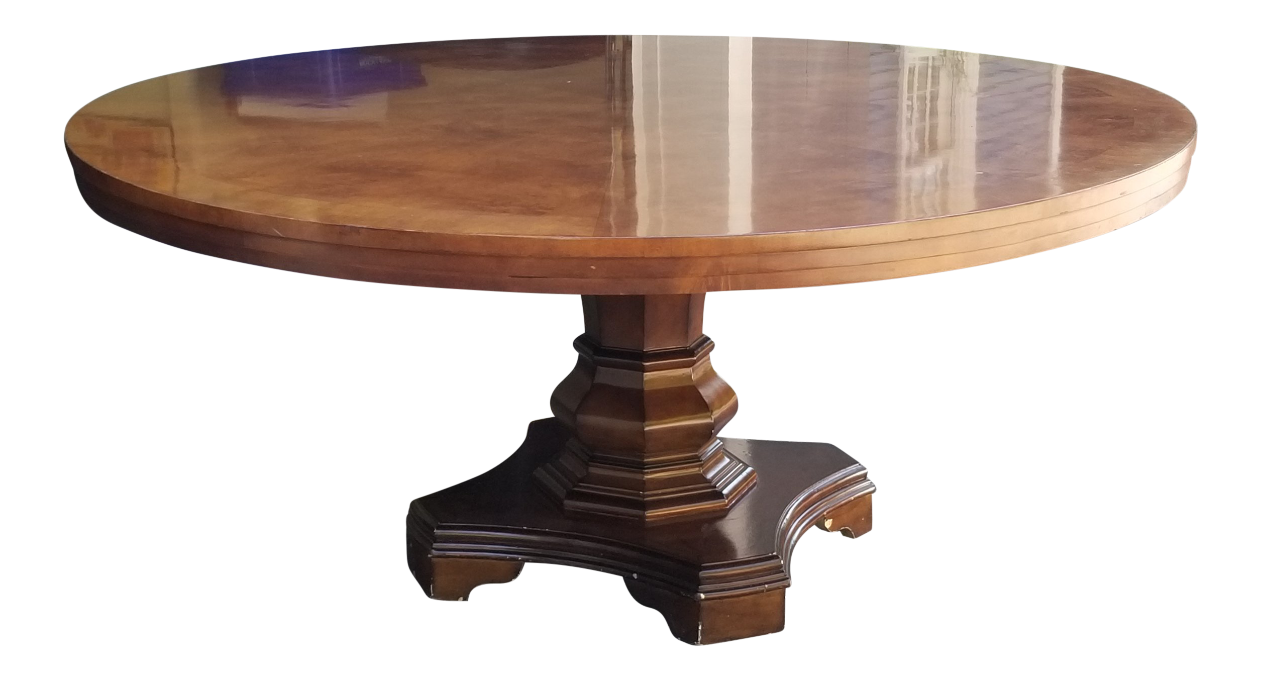 Pedestal drawing round table. Burlwood dining with