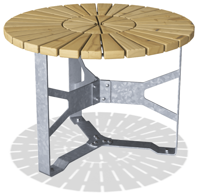 Pedestal drawing round table. Rumba cm benches tables