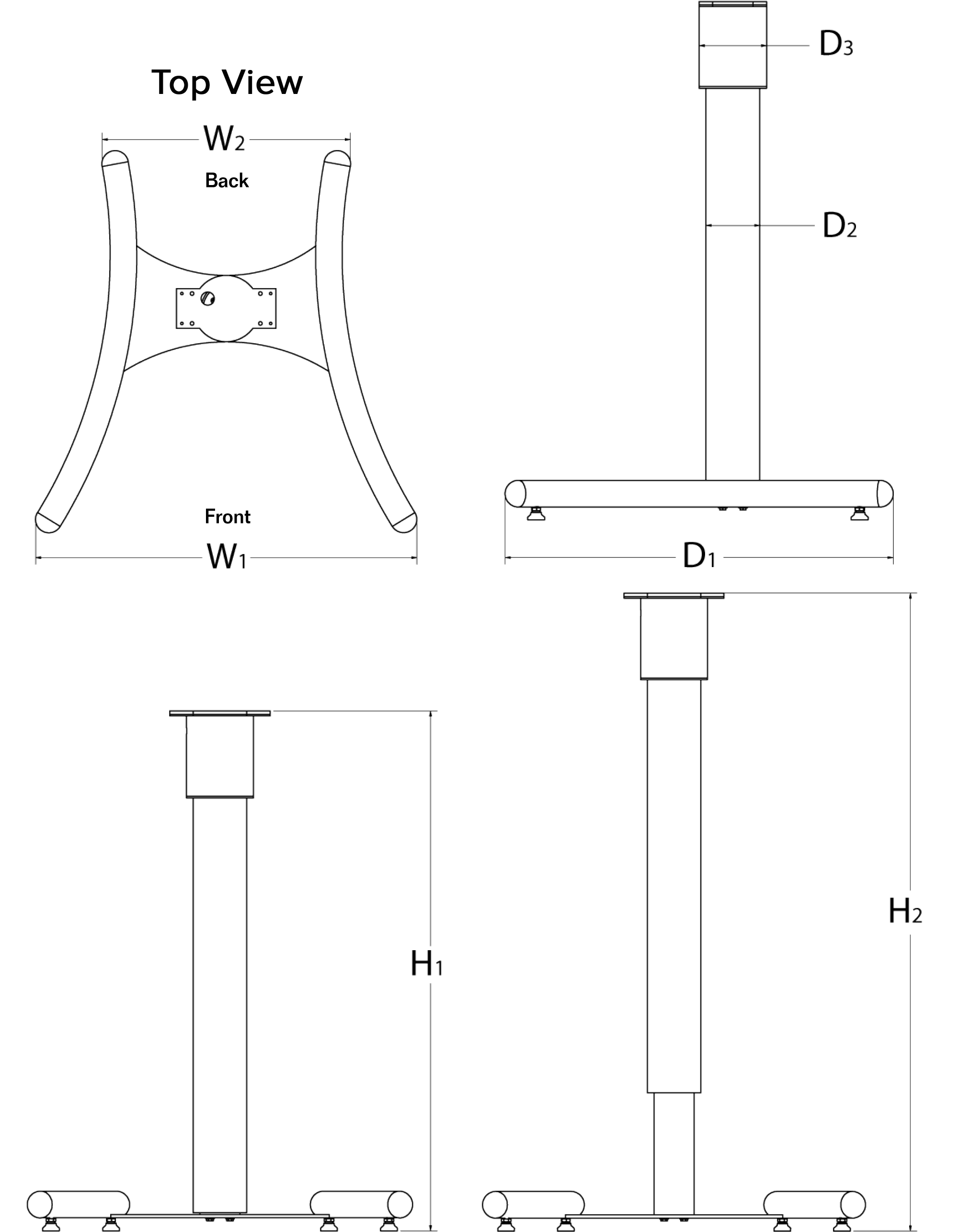 Pedestal drawing simple. Adjustable nema x series