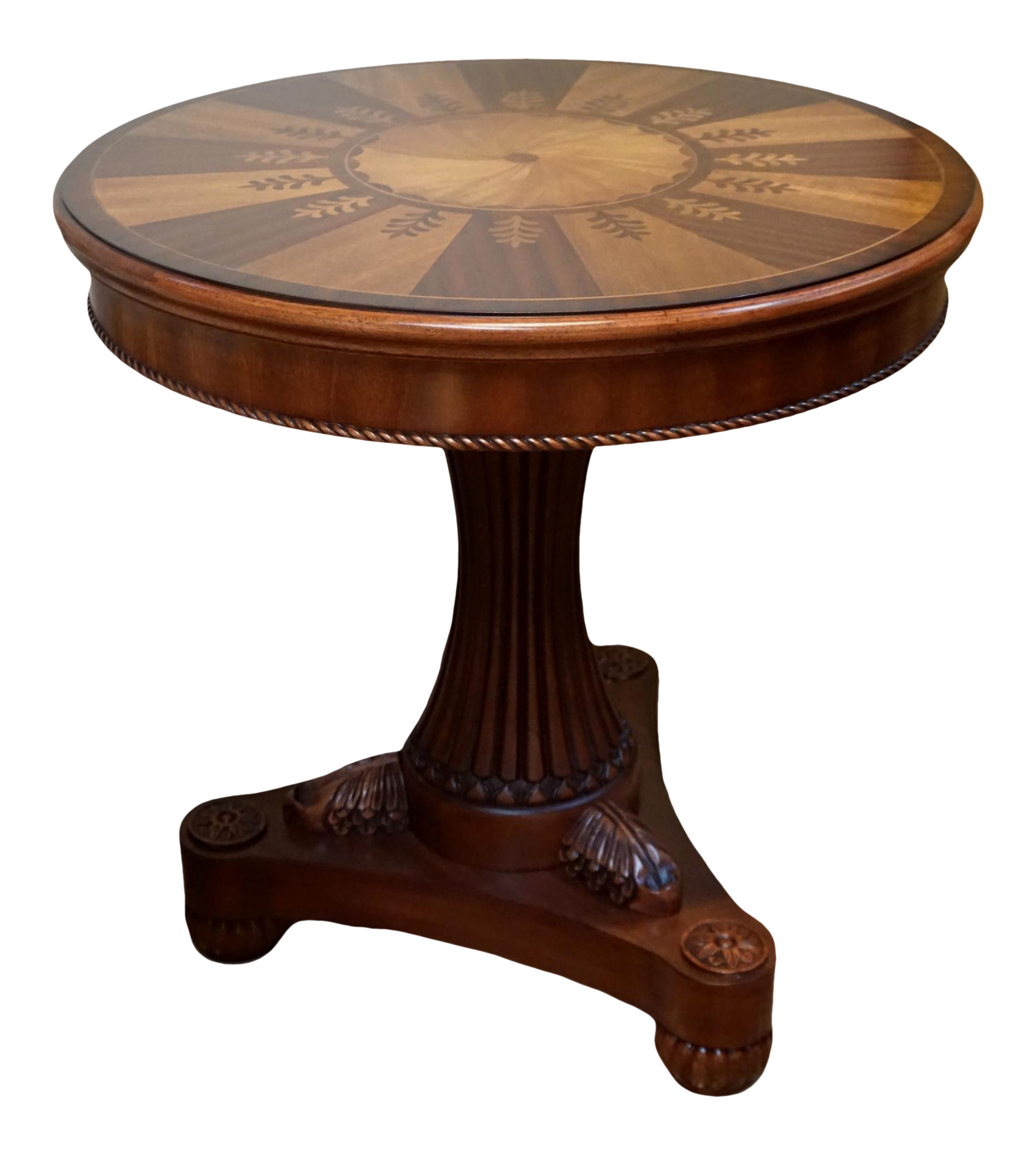 Pedestal drawing small table. Round marquetry inlay side