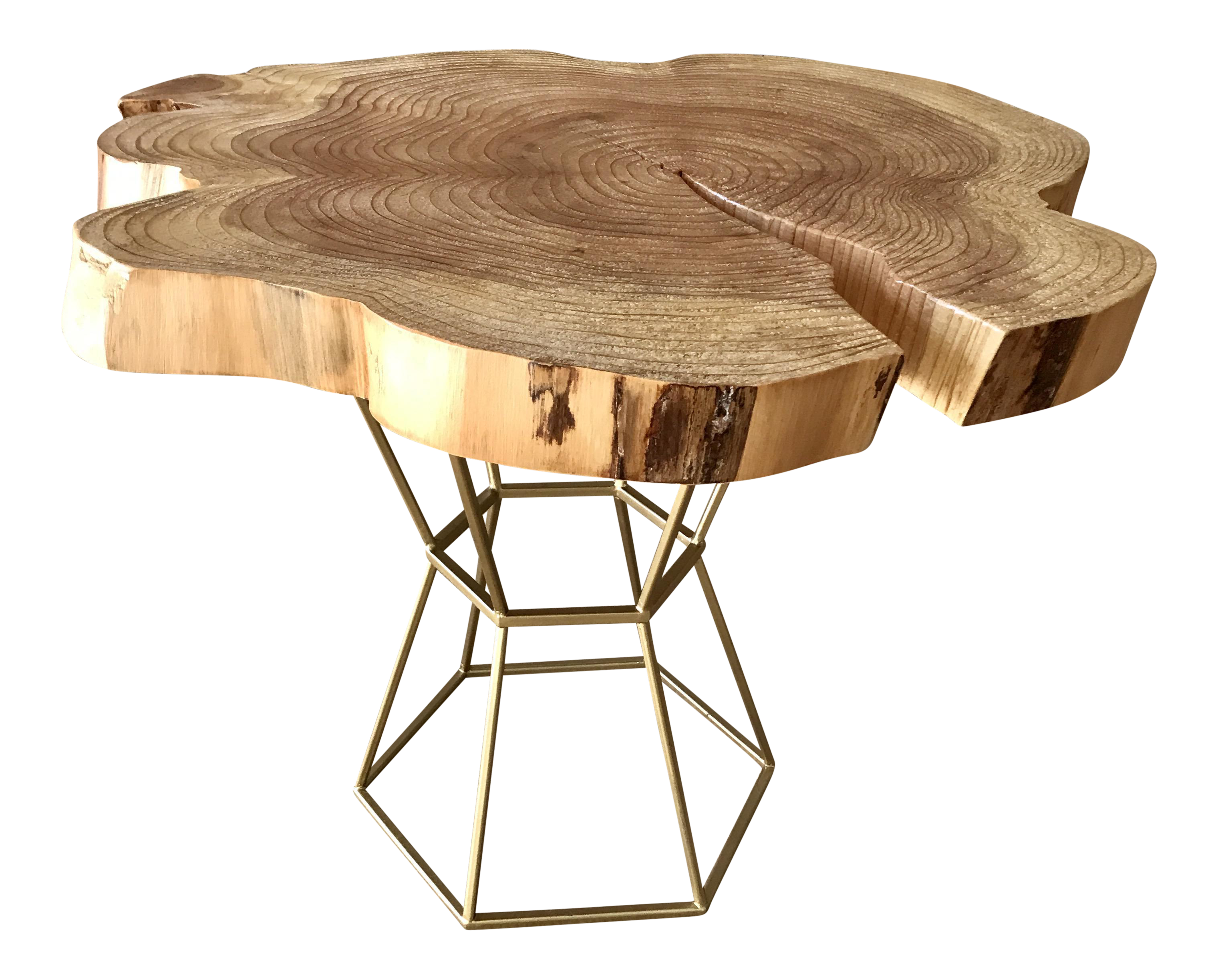 Pedestal drawing small table. Live edge coffee on