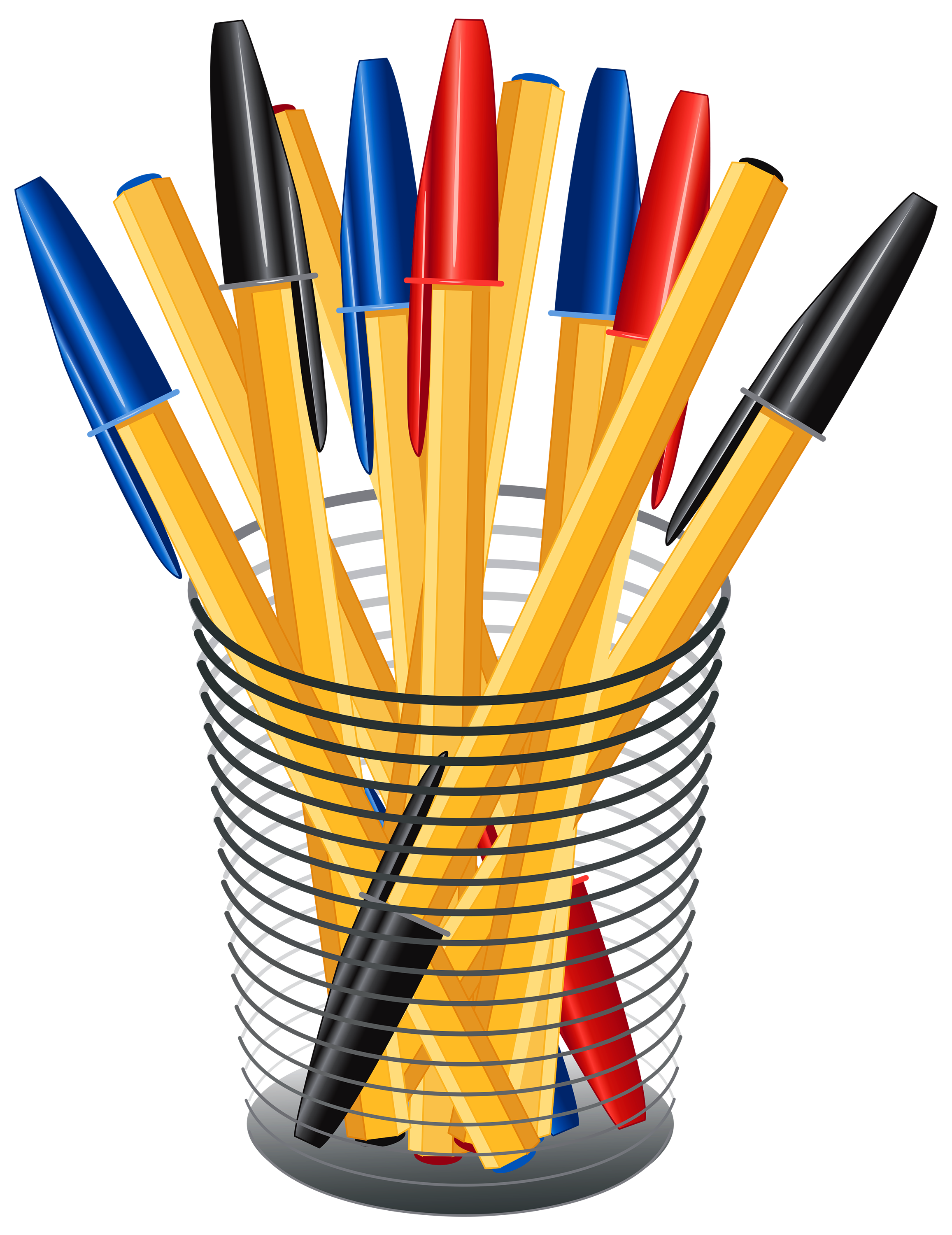 Cup transparent pens. Metal with png clip