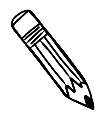 Pencil doodle png. Safe writing zone at
