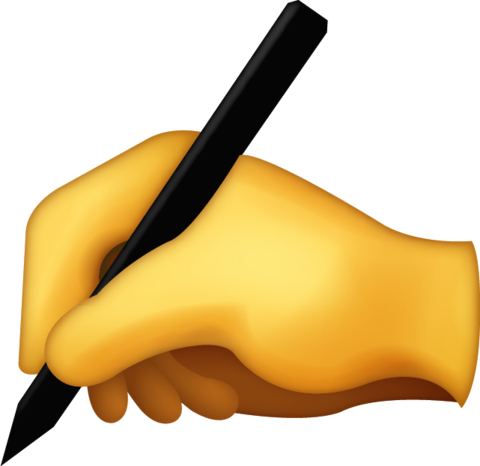 Letter emoji png. Writing hand free download