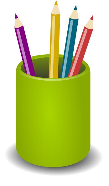 Cup transparent pens. Colored pencil clipart at