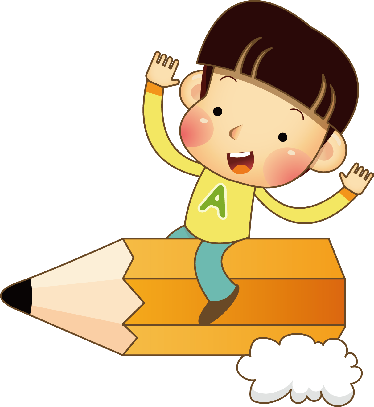 Pencils drawing boy. Child pencil clip art