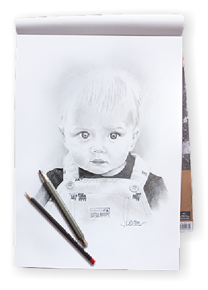 Pencils drawing boy. Pencil sketch artist professional