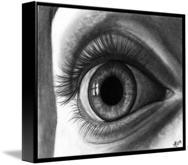 Pencils drawing eye. The with long eyelashes