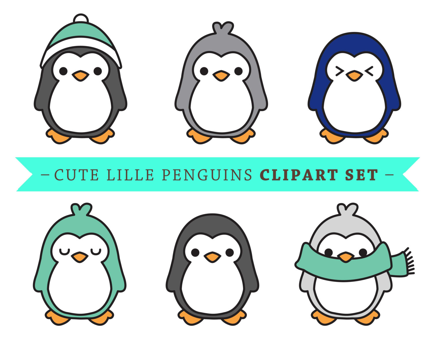 Penguin clip art baby penguin. Premium vector cute